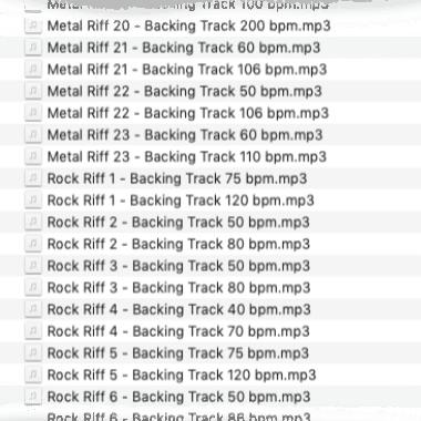 69 Rock und Metal Riffs Backing Tracks