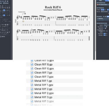 69 Rock und Metal Riffs Guitar Pro Dateien