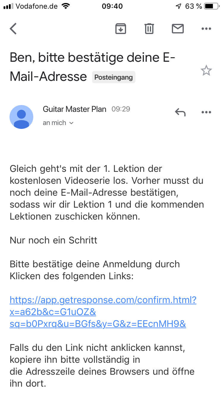 GMP Email Bestätigungsmail mobil