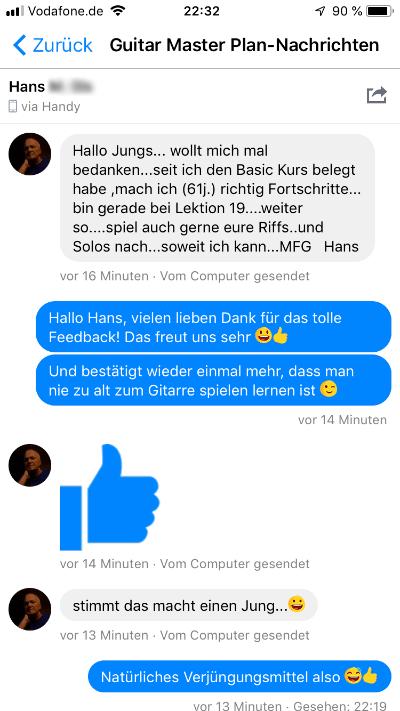 Guitar Master Plan Erfahrung Hans FB
